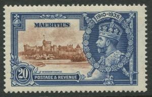 Mauritius - Scott 206 - Silver Jubilee -1935 - MVLH -Single 20c Stamp