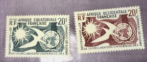 French Equitorial Africa 202 (2) MNH Human Rights