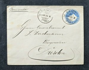 1891 Cairo Egypt Postal Stationary Cover to Dresden Germany