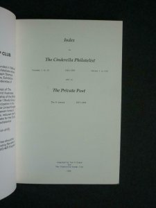 INDEX TO THE CINDERELLA PHILATELIST 1961-1985 & THE PRIVATE POST by IAN D CRANE