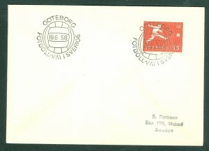 Sweden. Cover 1958  June 19. World  Cup Soccer. Brazil -Wales. Sc.#524. Goteborg
