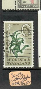 RHODESIA & NYASALAND (P0806B)  QEII   3D TOBACCO   SG 43  RETOUCH BY OVAL   VFU