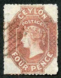 Ceylon SG30 4d Rose-red Wmk Star Rough Perf 14 to 15.5 cat 130 pounds