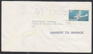 MISSENT TO JAMAICA 1980 cover CANADA to Turks Is...........................55023