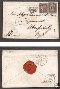 Great Britain SG 9 (x2) on 1852 Double Rate cover