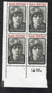 2956 Bessie Coleman F-VF MNH Plate Block LR