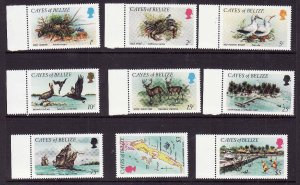Cayes of Belize-Sc#1-9-unused NH set-Ships-Birds-Marine Life-1984-