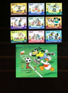 DOMINICA - Scott 744-753  VFMNH - DISNEY - WORLD CUP SOCCER - 1982