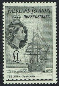 FALKLAND ISLANDS DEPENDENCIES 1954 QEII SHIP 1 POUND MNH **
