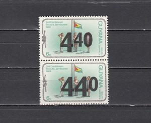Guyana, Scott cat. 405, 405a. 440 Surcharge 2 different types on Scout values.