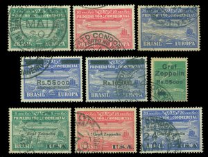 BRAZIL 1930 AIRMAIL - Graf ZEPPELIN complete set - Scott # 4CL1-4CL10 used