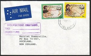 NORFOLK IS 1995 cover large size INSUFFICIENT POSTAGE handstamp............49241