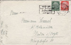 GER30151) Germany 1940 Third Reich envelope, correspondence enclosed, franked wi