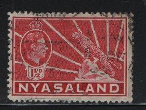 NYASALAND, 56, USED, 1938-44, GEORGE V & LEOPARD