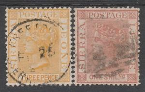 SIERRA LEONE 1884 QV 3D AND 1/- WMK CROWN CA USED