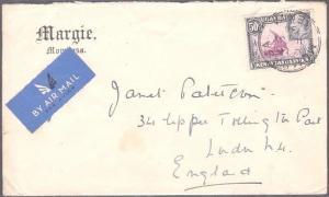 KENYA UGANDA TANGANYIKA 1936 GV 50c on cover ex Mombasa to UK................709