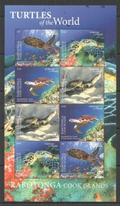 R0170 2020 RAROTONGA SEA TURTLES OF THE WORLD MARINE LIFE REPTILES FAUNA SH MNH