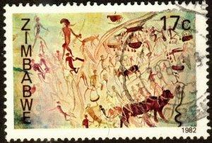 Zimbabwe 448 - Used - 17c Rock Paintings (1982) (cv $0.40)