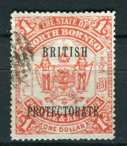 NORTH BORNEO; 1901 early pictorial issue fine used $1. value