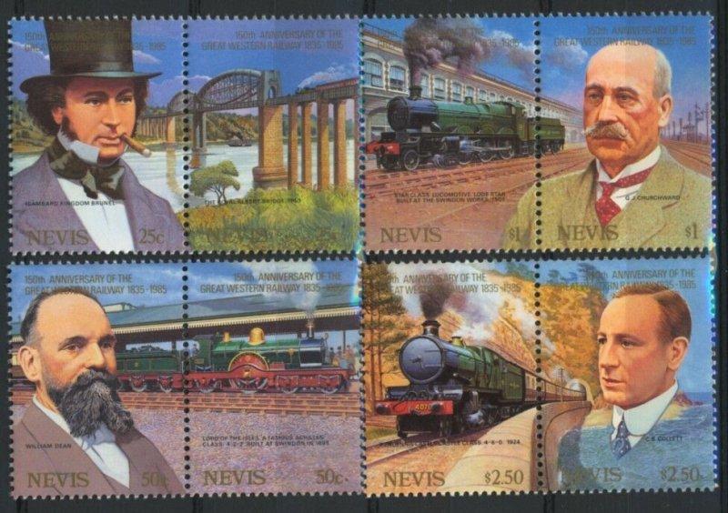 Nevis MNH 438-41 Pairs Great Western Railway Anniversary 1985