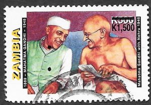 Zambia Scott #714 500K Portrait of Gandhi with Nehru (1998) used
