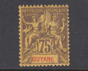 French Guiana Sc 48 MLH. 1892 75c deep violet Navigation & Commerce on orange