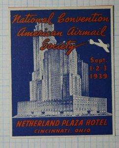 Natl Convention American Airmail Society 1939 Cincnnati OH Philatelic Souvenir