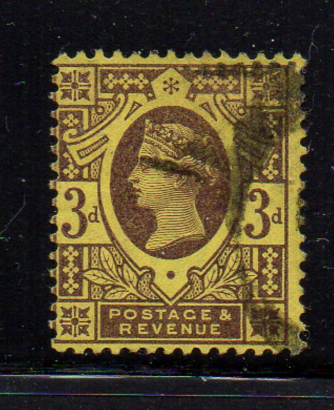 Great Britain Sc 115 1887 3d violet on yellow Victoria stamp used