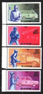 North Korea. 1989. 3034-37. Ambulance and firefighter transport. MNH.