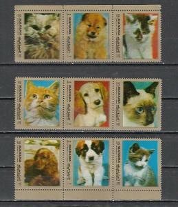 Manama, Mi cat. 944-944H A. Various Cats & Dogs issue.