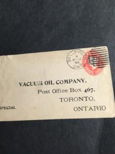 Canada USC #U13d 2c Type B on 3c Postal Stat. Env. Scarce Cat. $30.Toronto BS