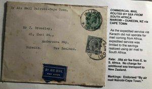 1932 Nairobi Kenia First Flight Cover FFC To Dunedin New Zealand Via Cape Town