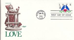 1990, 25c Love Stamp, Artmaster, FDC (D14724)