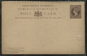 Dominica QV 1 1/2d Post Card unused with reply card loosely attached