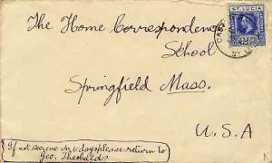 Saint Lucia 2 1/2d KGV 1922 Castries, St. Lucia to Springfield, Mass.  Bit ro...