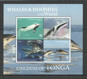 R0193 2020 TONGA WHALES & DOLPHINS OF THE WORLD MARINE LIFE FAUNA KB MNH