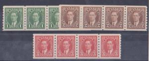 Canada USC #238-240 Mint 1937 Coil Pairs og Each - VF-NH Cat. $72.