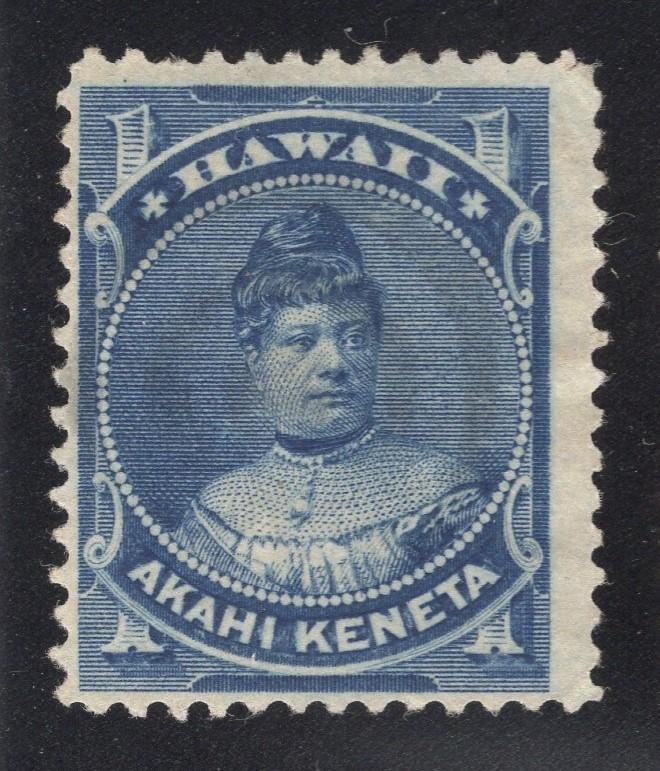 Hawaii #37 Blue - Used? Appears to have a Very Light Bulls-Eye Cancel