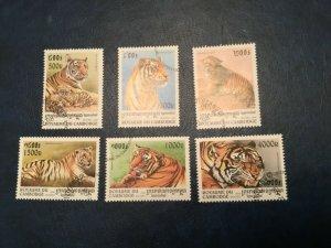 ICOLLECTZONE Cambodia #1695-98 XF Used Tigers  (Bk1-30)