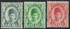 ZANZIBAR 1908 SULTAN 1C , 3C AND 6C