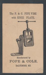 US Sc UX5 1880 Illustratrated Advertising Card, Plumbing Pipe Vise, Tools