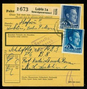 1944 Poland Germany Parcel Cover Lublin Concentration Camp KZ Roman Kaduslovski