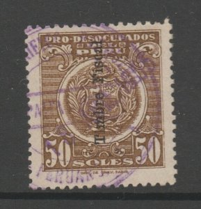 Peru fiscal OP fiscal revenue stamp on Social? stamp 4-8-21- Scarce- 50soles