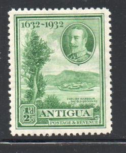 Antigua Sc 67 1932 1/2d green Old Dockyard at English Harbour  stamp mint