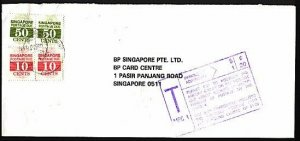 SINGAPORE 1992 taxed cover with postage dues. PASAR PANJANG cds...........95504