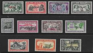 NEW ZEALAND SGO141/51 1940 CENTENARY OFFICIAL SET MNH