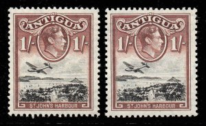 Antigua 1938 KGVI 1/- BOTH SHADES SG 105, 105a very lightly mounted mint