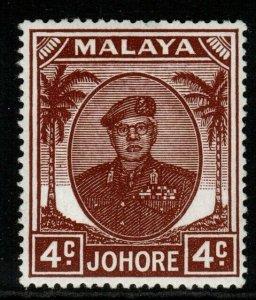 MALAYA JOHORE SG136 1949 4c BROWN MNH