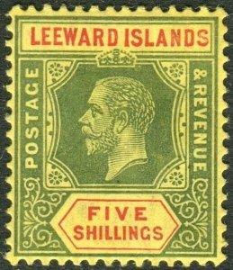 LEEWARD ISLANDS-1915 5/- Green & Red/Lemon  Lightly mounted mint example Sg 57b