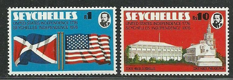 Seychelles 1976 VF MNH Stamps Scott # 351-352 Flags, Indepence Hall CV 1.70 $